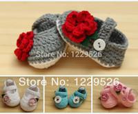 ingrosso i pattini del bambino dell'uncinetto nuovi-2015 Nuovo design Crochet Cotton Baby Crochet Shoes Baby Calzature a maglia Scarpe da bambino 0-12M Prime scarpe da escursionisti