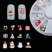 Wholesale Christmas Glitter Nail Stickers - Wholesale-12Pcs 3D Christmas Nail Art Decoration Alloy Jewelry Glitter Rhinestones Slice Stickers Decal Foil Wheel DIY Styling Nail Tools