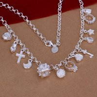Wholesale Low Priced Bohemian Jewelry - new arrive lowest factory price 925 sterling silver fashion 13 pendant charms wedding necklace women lady jewelry N021