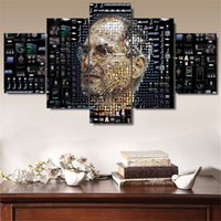 Wholesale Piece Jobs - Apple - Steve Jobs,5 Pieces Home Decor HD Printed Modern Art Painting on Canvas (Unframed Framed)