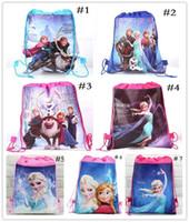 Wholesale Drawstring Canvas Backpack - Kids backpack Anna Elsa drawstring bags Anna Elsa backpacks handbags children's school bags kids' shopping bags present 7 styles