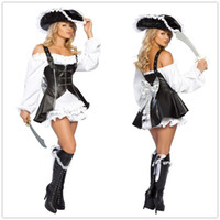 Wholesale Sexy Costumes Pirates - Cosplay Sexy Pirate Costumes For Women Pirate Maiden Costume Five Pieces Outfits Off Shoulder Ruffled Peasant Dresses Uniforms O28058