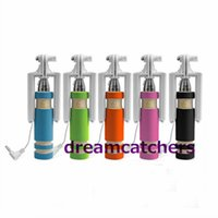 Wholesale wired monopod resale online - Super Mini Wired Selfie Stick Handheld Monopod Extendable Foldable Holder With Cable for Sansung S6 Edge for iphone s for HTC