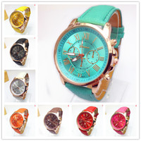 Wholesale Young Woman Dress Fashion - NEW Geneva Watch women Fashion Quartz Watches Leather Young Sports Women gold watch Casual Dress Wristwatches relogios feminino