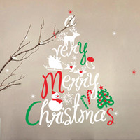 Fond Étanche Pas Cher-Grande taille Noël Bonhomme de neige Merry Christmas Tree Backdrop Living Room Bedroom Stickers Removable Waterproof Home Decor Xmas Gift