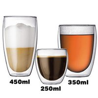 Wholesale Double Wall Glass Cup Milk - Free shipping Clear 250 350 450 ml Double Wall Glass Coffee Cup Mug Tea Water milk High Quality Glassware Home office supplies