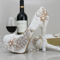 Wholesale Wedding Shoes Ivory Pearls - Luxury Pearls Wedding Shoes High Heels Sparkle Crystal White Iovry Bridal Party Shoes Free Shipping Elegant Prom Evening Shoes