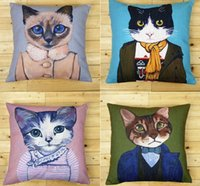 Wholesale Set Covers For Sofa Cushions - Creative cat pattern pillow case pillow for sofa covers set cushion cover designer sofa decorative