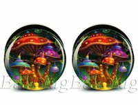 Wholesale wholesale plugs jewelry - Wholesale 6-25mm gauges 60pcs bag body jewelry mushroom paradise ear plug gauges tunnel ear expander ASP0223
