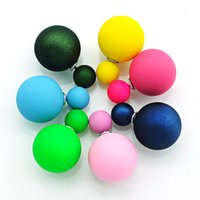 Wholesale Mother Pearls Brand Wholesale - Brand New Stud Earrings Fashion Seven Color Double Ball For Women Earrings Jewelry Drop Shipping EH3438