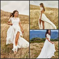 Wholesale stunning short sexy wedding dresses resale online - 2019 New Stunning Beach Bohemian Wedding Dresses Short Sleeve Lace Vestidos de Novia Side Split Summer Wedding Gowns Bridal Dress