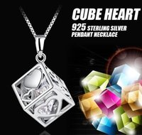 Wholesale Valentines Day Gifts Free Shipping - Hot Sale 925 Sterling Silver Love Cube Shape Crystal Heart Necklace Pendant For Women Jewelry Valentines Gift Free Shipping