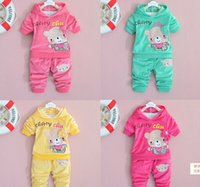 Wholesale Kids Bear Hoodie - Spring autumn kids girl hoodies +pants set 2 pieces,girls long sleeve clothes suit bear pattern velvet clothing 4s l