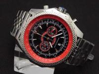 Wholesale round wrist watch big dial online - Luxury Mens red Dial Japan Chronograph Sport Wrist Supersports ISR Men s Watches FLYING B Motors super big steel Watch