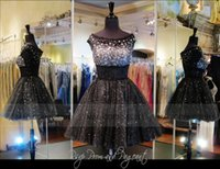 Wholesale Sparkly Short Prom - 2015 Sparkly Short Black Prom Pageant Dresses Off-Shoulder A-Line Appliques Cap Sleeve Crystal Beaded Short Party Cocktail Dresses Cheap