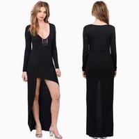 Wholesale Slim Irregular Hem Dress - Fall 2015 new foreign trade dress sexy deep V-neck Slim dress irregular hem dress