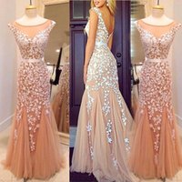 Wholesale Trendy Celebrity Evening Dress - Sheer Scoop Mermaid Evening Dresses 2016 Trendy Appliqued Backless Tulle Prom Party Gowns Mermaid Celebrity Formal Dress with Satin Belt