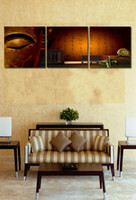 Wholesale Chinese Buddha Painting - 3 Panels Set Special Chinese Styles Golden Buddha Canvas Printing Modern Decorative Art Picture for Living Room Bedroom