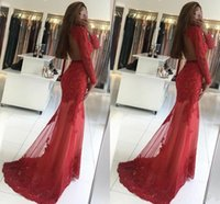 Hot Red Mermaid Abendkleid Illusion Spitze Appliqued Perlen Schlüsselloch Open Back Long Sleeves Plus Size Kleider Abendgarderobe