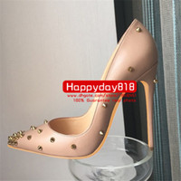Wholesale Leather Pumps Kids - Free shipping fashion women pumps Black Nude kid leather spikes point toe high heels sandals shoes boots genuine leather real photo