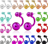 Wholesale black metal earring hooks - Fashion Double side UV Pearl Earrings Metal colors Hook Stud Earring Factory price mixed colors wholesale