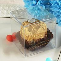 klare pvc-kisten für süßigkeiten großhandel-100 teile / los 6 cm Platz Klar PVC Paket Box Kunststoffbehälter Schmuck Geschenkbox Süßigkeiten Schokolade Handtuch Kuchen Box Freies Verschiffen