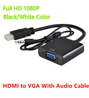 Wholesale Vga Prices - Lowest Price HDMI Male to Female VGA Adapter Converter With Audio Cable Jack Support 1080P HDCP