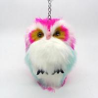 Wholesale Owl Ring Holder - 15CM Cute Fluffy Owl Keychain & Pendant Women Key Ring Holder Faux Bunny Rabbit Fur Pompoms Key Chains For Handbag Plush Keyring