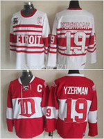 Wholesale Dry Ice Delivery - 2014 Free delivery top quality Throwback Detroit red wings #19 Steve Yzerman red White CCM Retro older Team ice hockey Jerseys