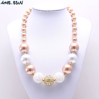 Wholesale Baby Gold Jewelry For Girls - MHS.SUN White+Gold Color Kid Chunky Necklace Newest Arrivel Fashion Bubblegume Bead Chunky Necklace Jewelry For Baby Kid Girl
