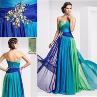 multi cor vestido de baile longo venda por atacado-Colorido Chiffon Barato Longos Vestidos de Noite Multi Cor Plissado de Cristal Lace Up Querida 2015 Vestido de Baile vestidos de festa