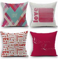 Wholesale Valentine Pillow Throw - love cushion cover heart throw pillow case for valentine present 45cm couple home decor cotton linen almofadas