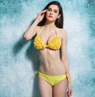 2016 Новые продажи Beach Sexy Fabulous Flower bikini Strappy Push-Up Padding Swimsuit Halter Ties Tankinis backless Ruched Back swimwear