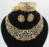 afrikanische goldhochzeitsringe großhandel-Halskette Armband Ohrring Ringe afrikanische Schmuck Sets Mode 18K Gold plattiert Blume Strass Hochzeit Party Set