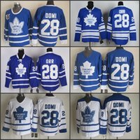 Wholesale Men Shirts Ties - #28 Tie Domi Toronto maple leafs 2002 Vintage Throwback Ice Hockey Jersey Shirt White, 100% Stitched Tie Domi Jersey, White Lace Neck