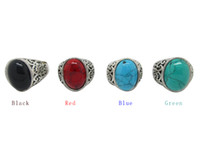 Wholesale men turquoise rings - 12Pcs Women's Turquoise Stone Rings Gemstone Antique Silver Rings With Four Color Men Vintage Resin Simulated Turquoise Stone
