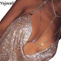 Wholesale Body Wires - Wholesale-Yojoceli Summer beach halter club rhinestones body chain bra harness Sexy backless women bra top Shiny diamond accessories