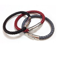 Wholesale silver chain for men 6mm resale online - Charm mm Black Genuine Leather Bracelet for Men Women Vintage Stainless Steel Braided Leather Bracelets Bangles Men Jewelry