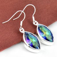 Wholesale Drop Shape Gem - 2015 Promotion Wholesale Price -- 5prs Lucky Shine Horse Eye Shaped Rainbow Mystic Topaz Gems 925 Sterling Silver Plated Drop Earrings E0447