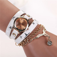 Wholesale Rivets Tassel Bracelets - 6 styles vintage leather strap watches Retro set auger rivet bracelet women luxury Diamond watches Fashion Tassel Wristwatch same price