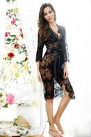 Wholesale Knee Length Romantic Floral - Women Transparent Full Lace Nightgown Set Romantic Bride Sleepwear Long Robe Sexy Female Lingerie Set Nightdress With Sashes