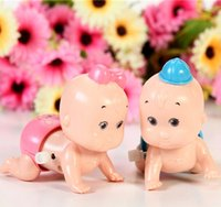 Wholesale Doll Crawls - Wholesale-Cartoon Cute Baby Crawling Doll Toy Clockwork Wholesale Wind-up Toys 6 Pieces Lot
