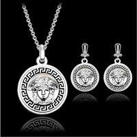 Wholesale indian women beauty - Luxurious Jewelry Sets Beauty head Necklace Earrings Sets Fashion Round Crystal Women Fine Jewelry Set CAL21085I