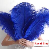 kraliyet dekorasyonları toptan satış-Kraliyet Mavi Devekuşu Tüyü Birçok Boyutları Düğün Süslemeleri Centerpiece Devekuşu Tüyü Devekuşu Plume Düğün Parti Dekorasyon Centerpiece