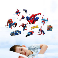 Wholesale Personalized Wall Sticker Boys - 3D Spiderman Wall Stickers for Kids Rooms Decals Home Decor Personalized Kids Nursery Wall Sticker dDecoration for Boys Room