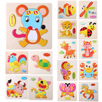 Kids Jigsaw Puzzle Cartoon Animals Dimensional Puzzle Force Crianças Wooden Jigsaw Puzzle Kids Education Learning Toys