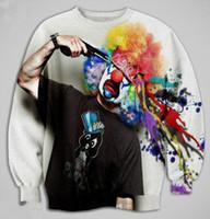 Wholesale Cardigan Sweat Shirts - New Men Casual HIPHOP Dance Sport Sweat shirts clown printed 3d sweatshirt hoodie harajuku design party team uniform tops tee free shipping