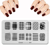 Wholesale Nail Stamp Halloween - Wholesale- 2016 Lot Nail Art Stamping Fashion Plaid Ail Halloween Skull Stainless Steel tamp Polish DIY Nail Art Template 6cmX12cm