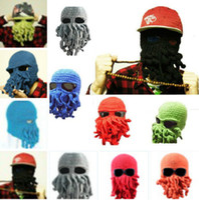 Wholesale Crochet Skull Hat Free Pattern - Unisex Octopus Pattern Beanies Winter Warm Knitted Wool Ski Face Mask Knit Hat Squid Cap Handmade Knitted Crochet Beard Hat Free DHL