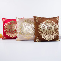 Wholesale Luxury Home Decor Wholesale - Cushion Cover Floral Gold Velvet Luxury Pillow Case for Sofa Bed Vintage Pillow Covers Soft Home Decor 18*18